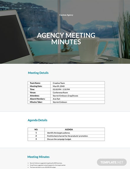 Free Simple Agency Meeting Minutes Template