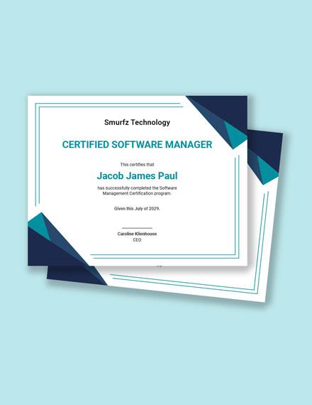 Software Management Certificate Template