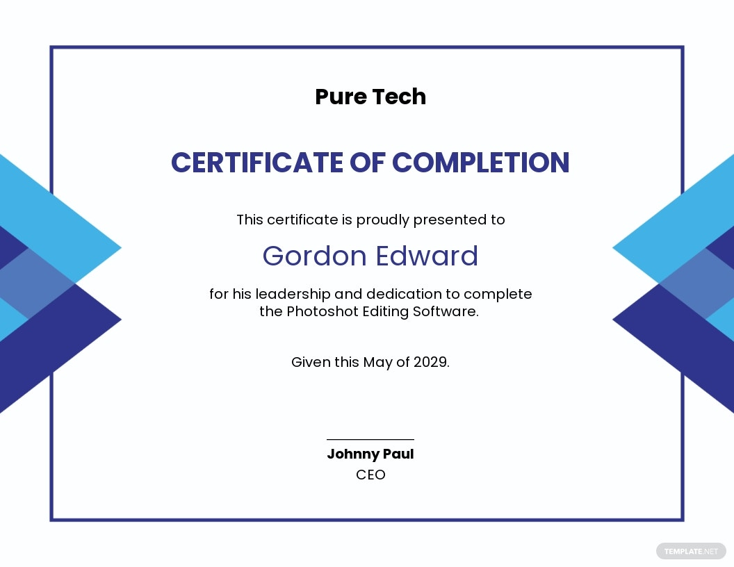 Software Project Completion Certificate Template