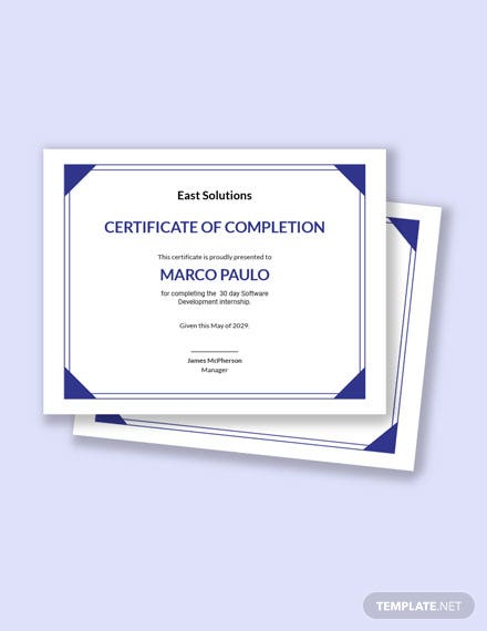 Software Internship Certificate Template
