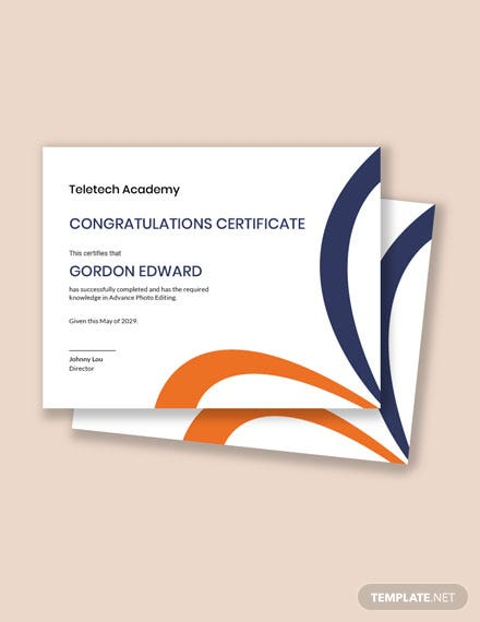 Congratulations Certificate for Students Template