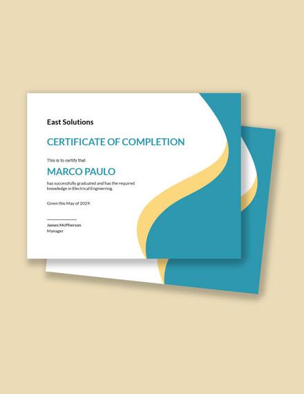 Graduation Completion Congratulations Certificate Template