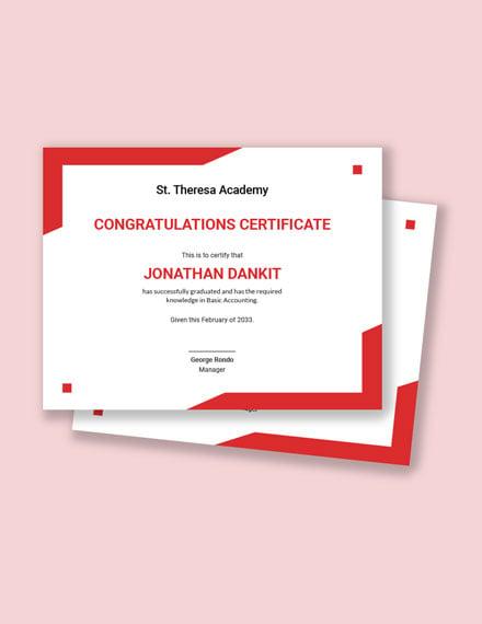 Graduation Congratulation Certificate Template