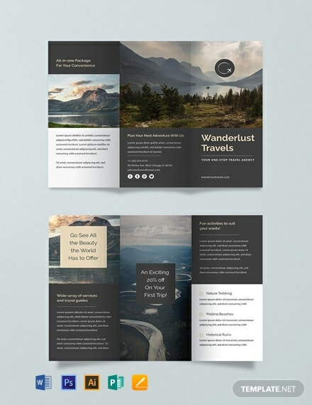 Free Travel Trifold Brochure Template