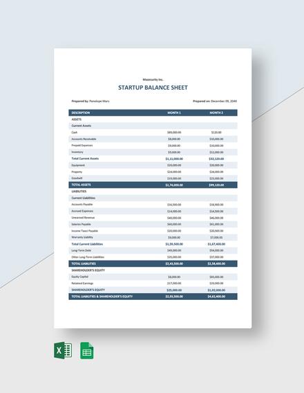 Startup Balance Sheet Template