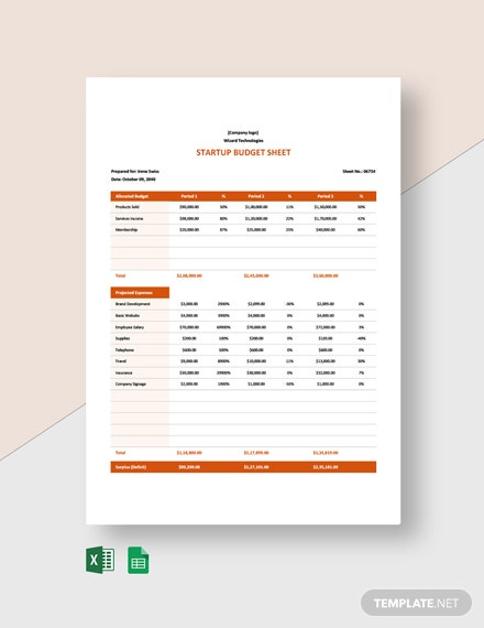 Startup Budget Sheet