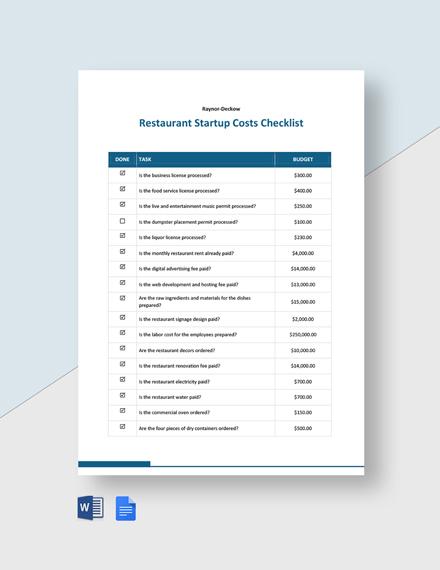 Restaurant Startup Costs Checklist Template