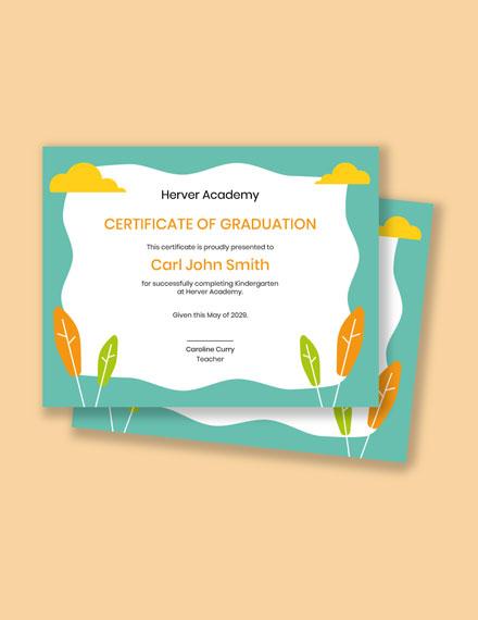 Certificate for Kindergarten Students Template