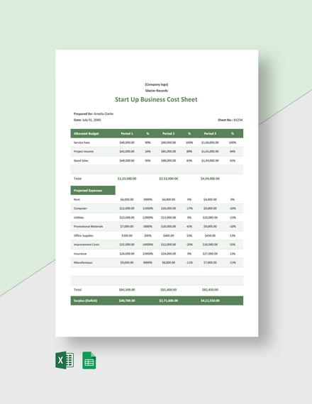 Start Up Business Cost Sheet