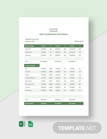 Start Up Business Cost Sheet Template