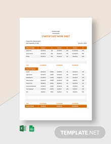 Startup Cost Worksheet Template