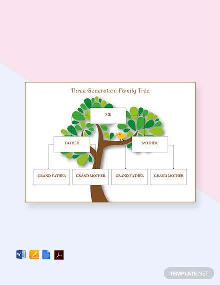 Three Generation Family Tree Template [Free PDF] - Word, Apple Pages