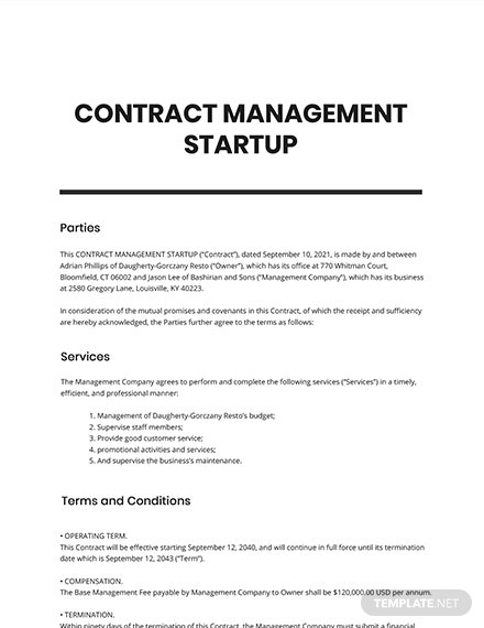 Contract Management Startup Template
