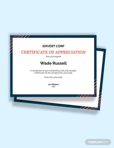 Free Thank You Appreciation Certificate Template