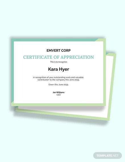Thank You Award Certificate Template