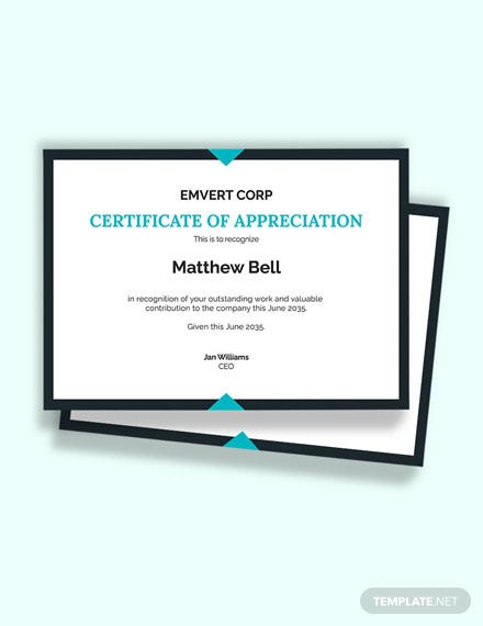 Employee Thank You Certificate Template