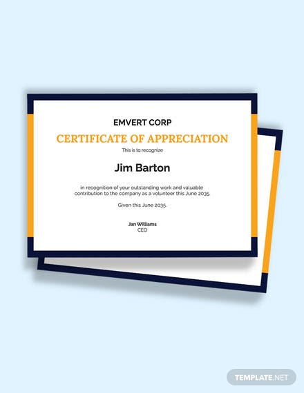 Volunteer Thank You Certificate Template
