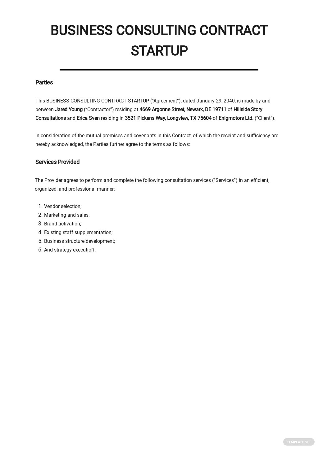 Business Consulting Contract Startup Template