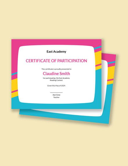Kindergarten Preschool Certificate Template