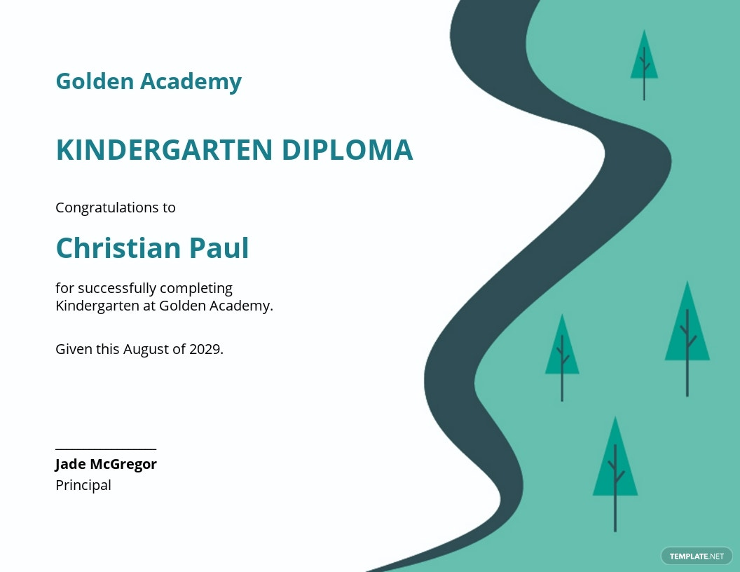 Kindergarten Graduation Diploma Certificate Template