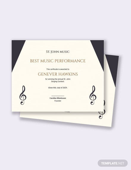 Music Competition Certificate Template