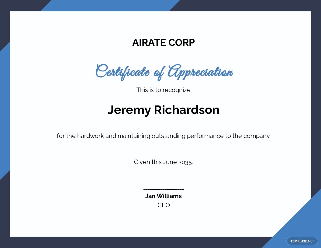 Thank You For Your Service Certificate Template.jpe