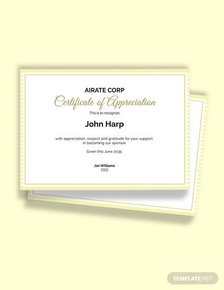 Thank You Certificate For Sponsorship Template