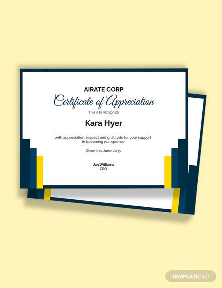 Sponsor Thank You Certificate Template