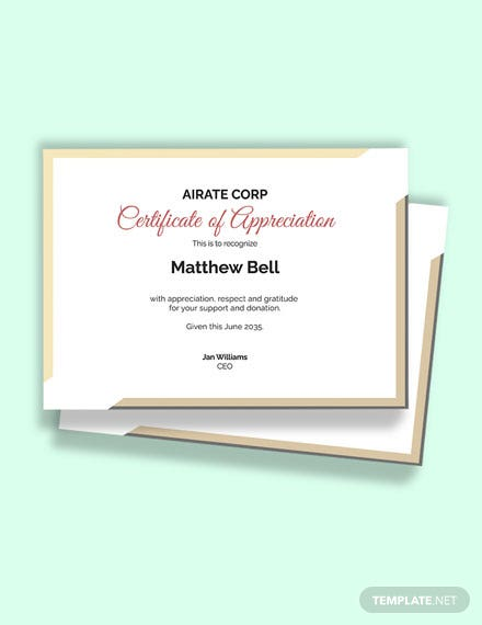 Charity Thank You Certificate Template