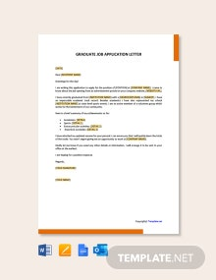 Free Graduate Job Application Letter Template