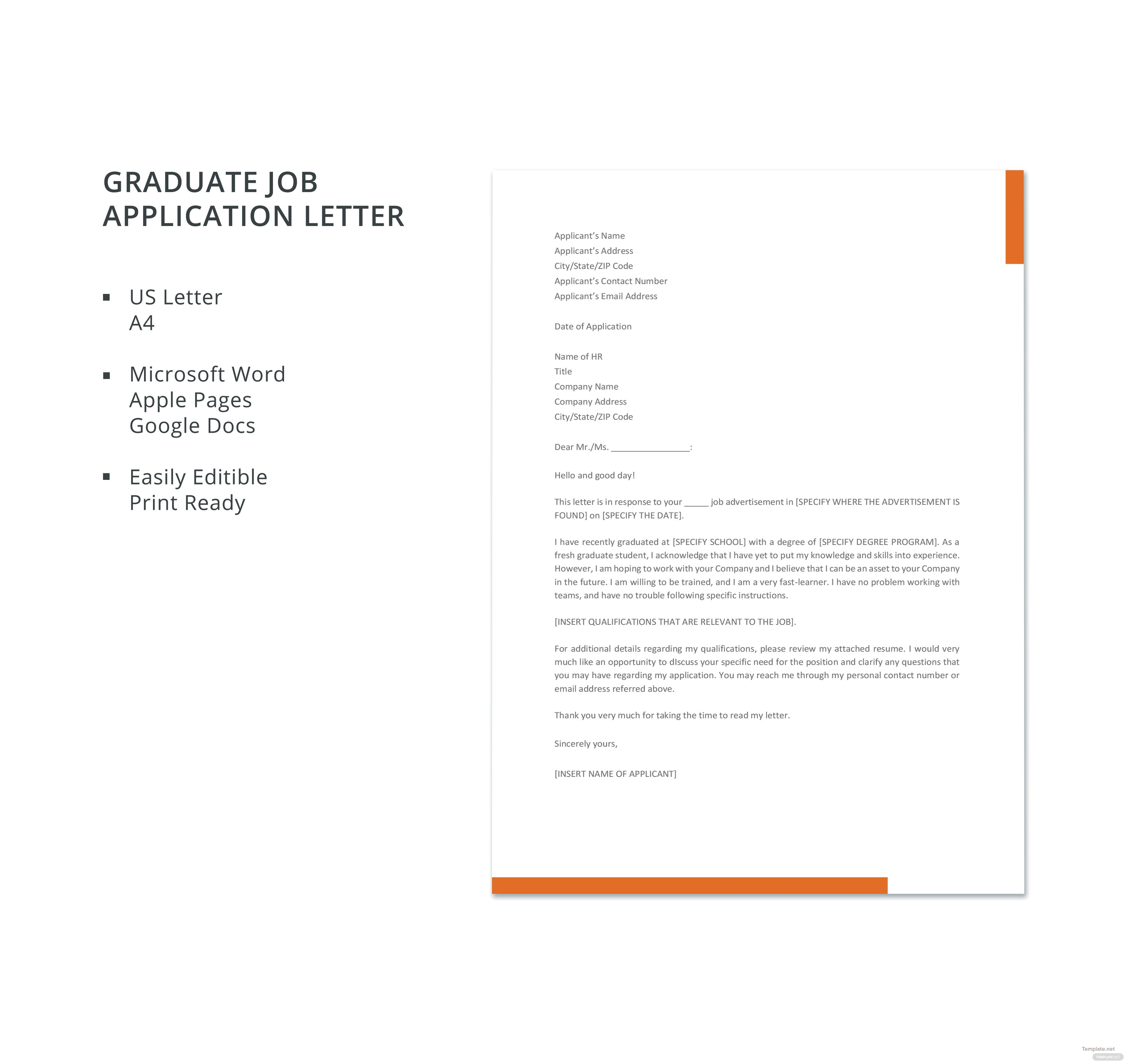 free graduate job application letter template in microsoft word apple pages google docs pdf. Black Bedroom Furniture Sets. Home Design Ideas