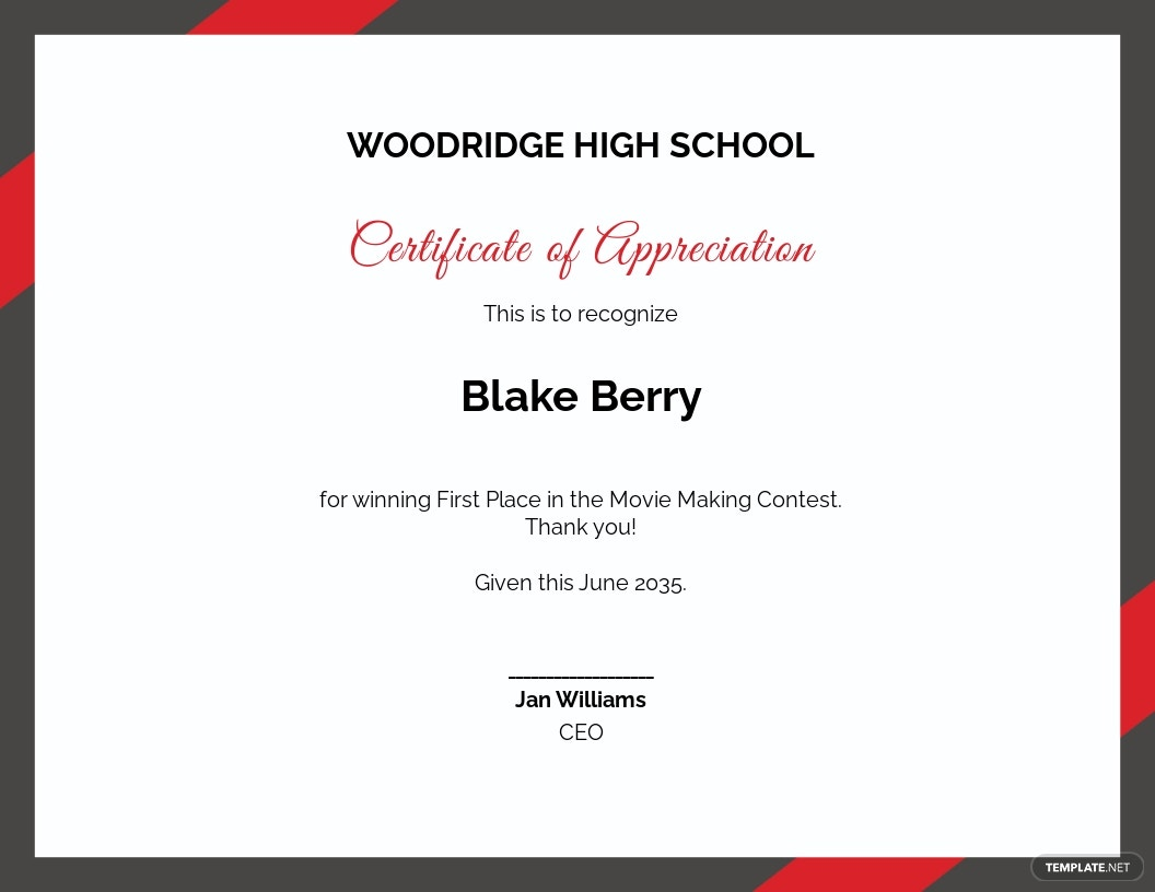 Thank You Certificate of Appreciation For Students Template.jpe