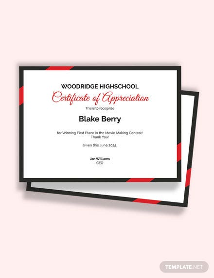 Thank You Certificate of Appreciation For Students Template