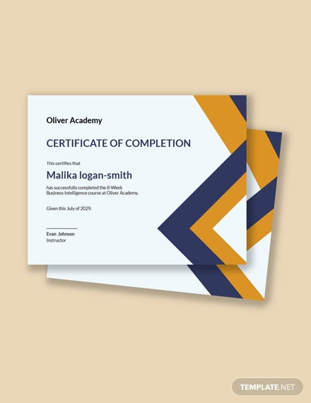 Business Intelligence Certificate Template
