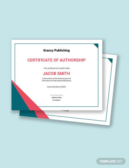 Free Certificate of Authorship Template