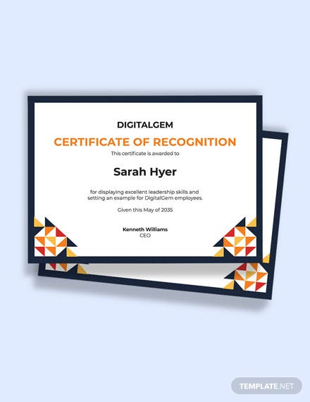Border for Certificate of Recognition Template