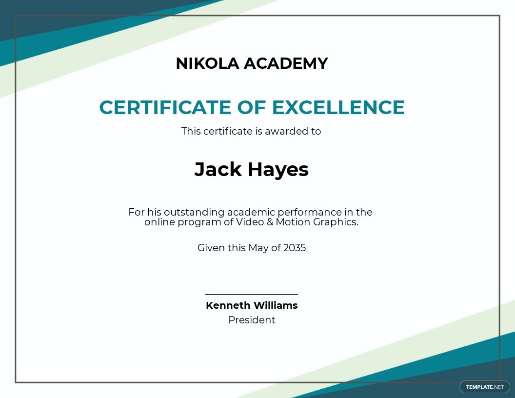 Free Online Academic Excellence Certificate template.jpe