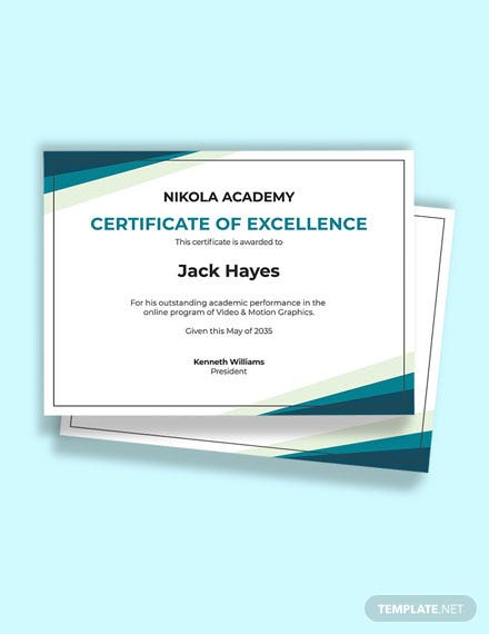 Free Online Academic Excellence Certificate template