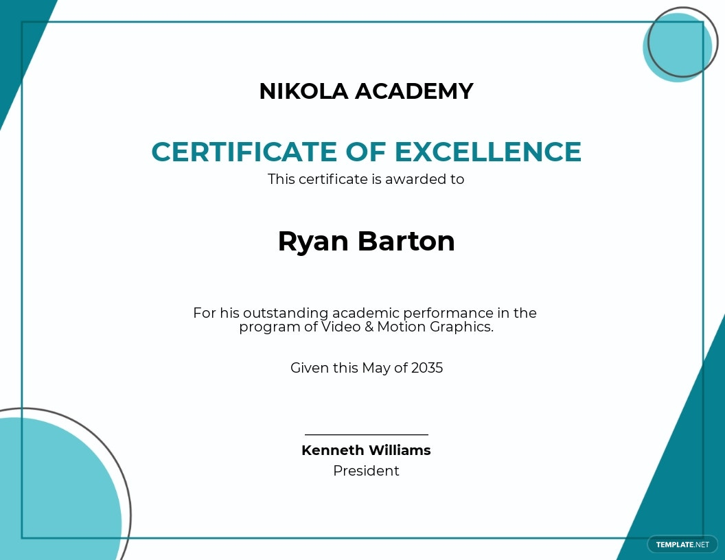 Free Student Excellence Certificate Template.jpe
