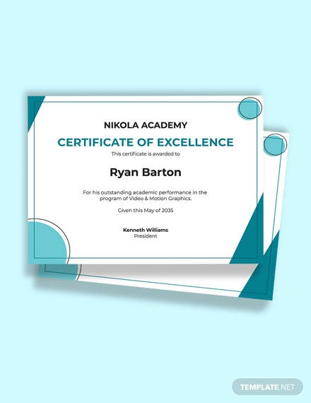 Free Student Excellence Certificate Template