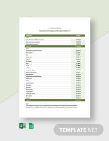 Business Start Up Costs Spreadsheet Template