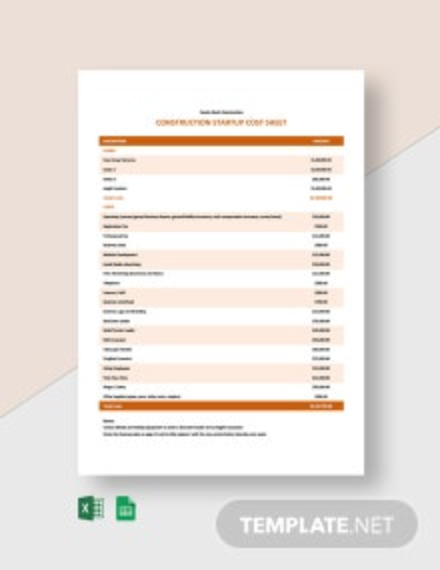 Construction Startup Sheet Template