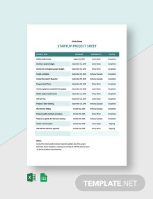 Startup Project Sheet Template