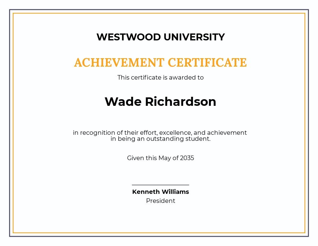 Free Academic Achievement Award Certificate Template