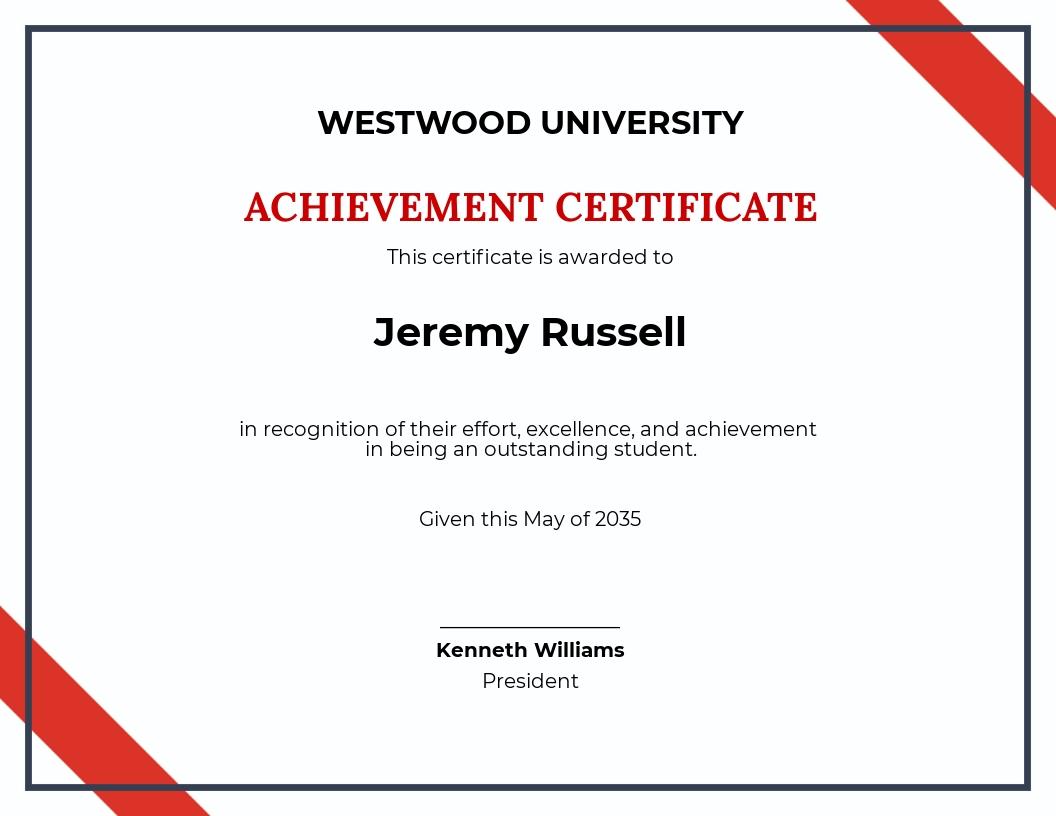 Free School Academic Achievement Certificate Template