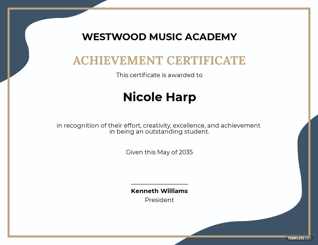 Free Music Academic Achievement Certificate Template