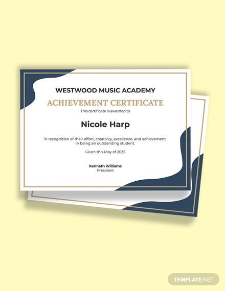 Free Music Academic Achievement Certificate Template