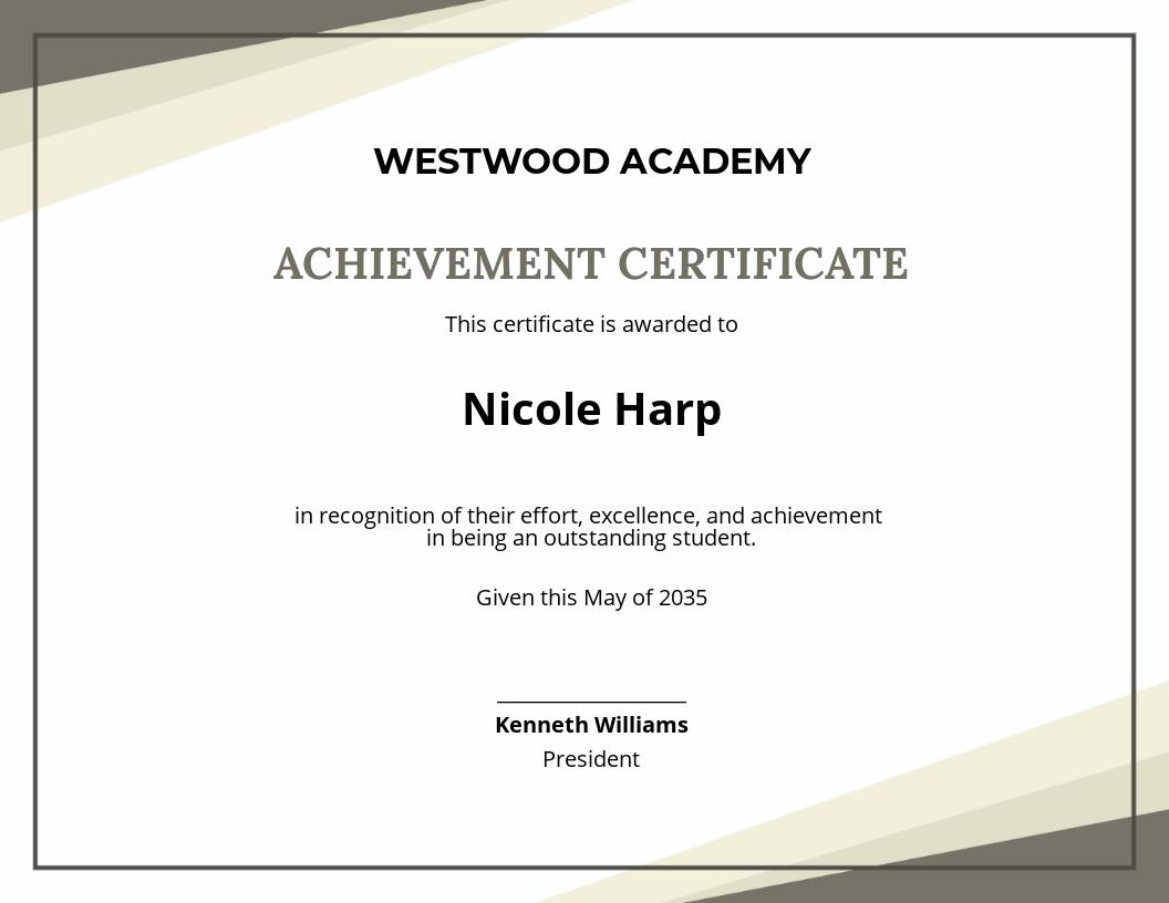 Academic Student Achievement Certificate Template