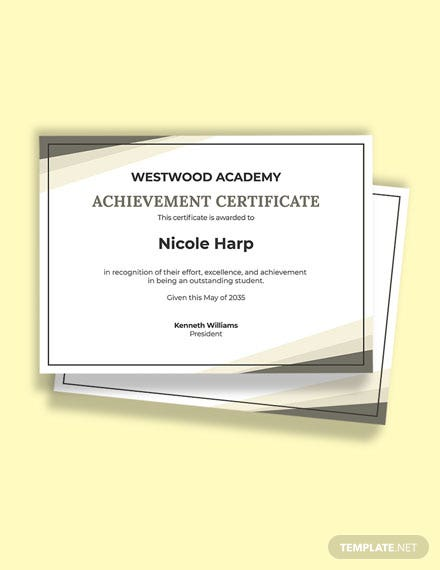 Academic Student Achievement Certificate Template