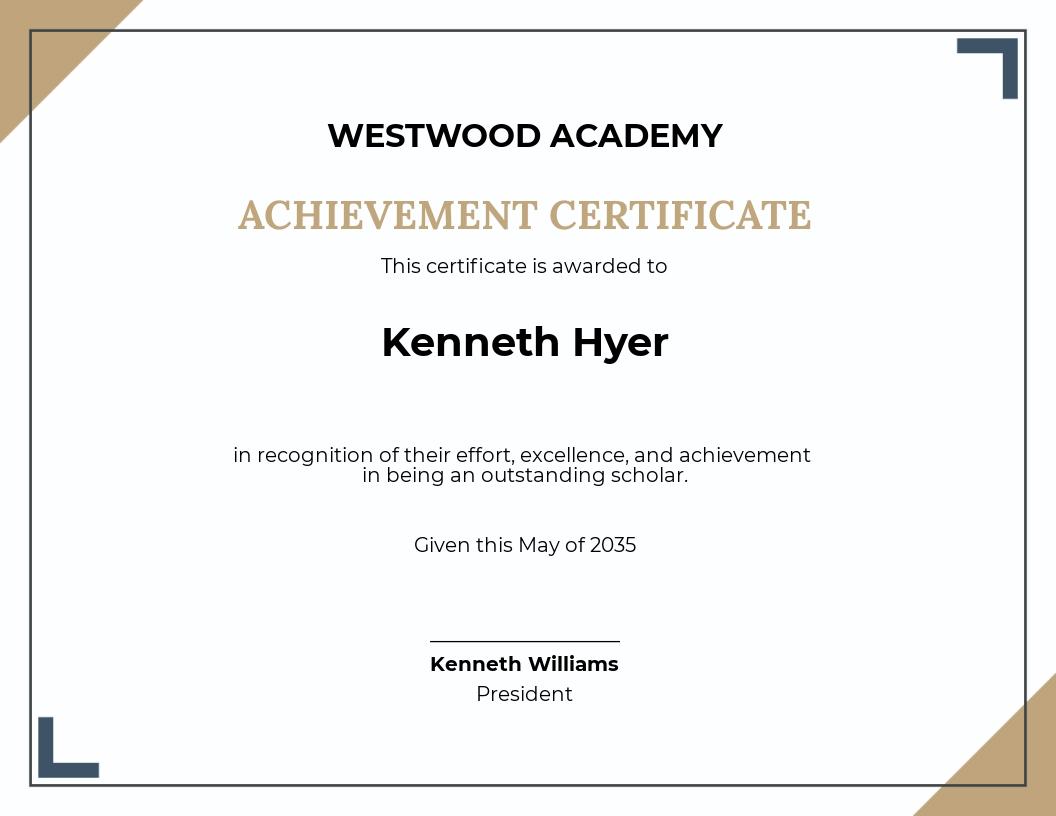 Certificate of Scholarship Academic Achievement Template